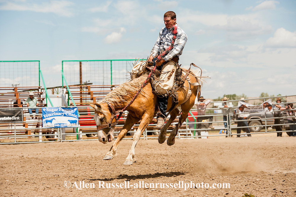 Will James Roundup, Ranch Rodeo, Ranch Bronc Riding, Chris Hatch, Hardin, Montana.