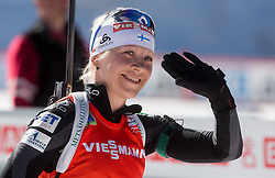 MAKARAINEN Kaisa of Finland celebrates after placed second during Women 12.5 km Mass Start competition of the e.on IBU Biathlon World Cup on Sunday, March 9, 2014 in Pokljuka, Slovenia. Photo by Vid Ponikvar / Sportida
