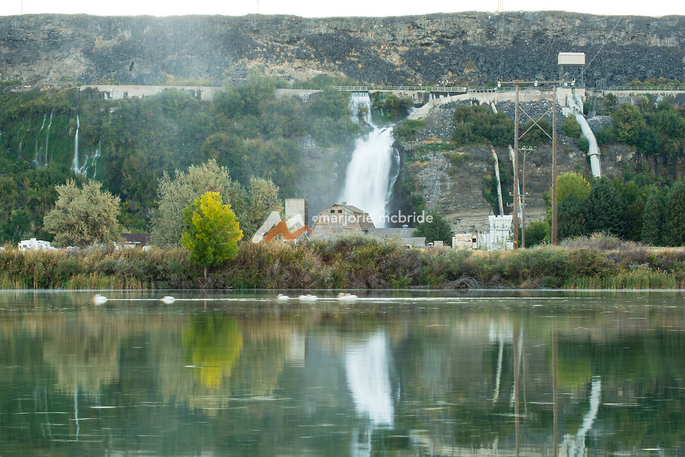 Scenic view of the Snake River and Thousand Springs cascading down cayon walls in Hagerman, Idaho.