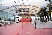 Preparations are  under way at for the 69th Cannes Film Festival at Palais des Festivals, Tuesday 10th May 2016, Cannes, France, red carpet, steps, getting ready, empty