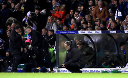 Leeds United manager Marcelo Bielsa crouches down by the touchline during the Sky Bet Championship match at Elland Road, Leeds.
