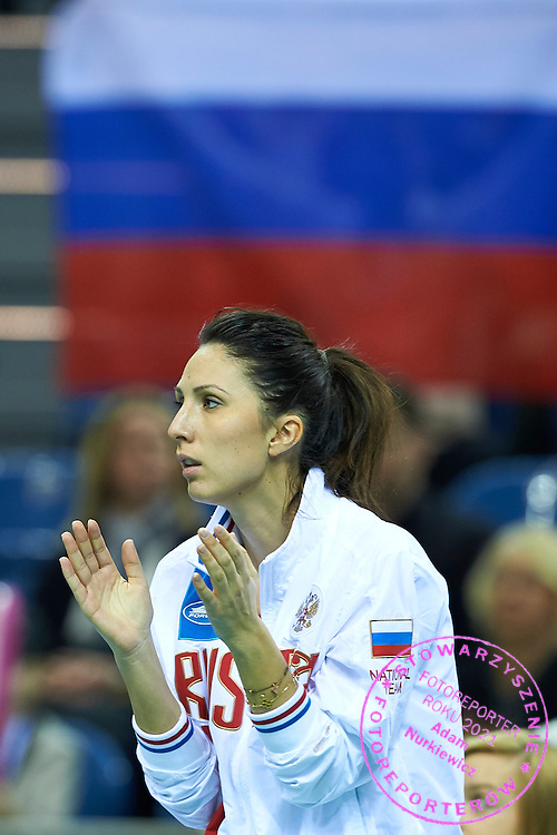 trainer coach Anastasia Myskina from Russia reacts after winning point during First Day of the Fed Cup / World Group 1st round tennis match between Poland and Russia at Tauron Krakow Arena on February 7, 2015 in Cracow, Poland.<br /> <br /> Poland, Cracow, February 7, 2015<br /> <br /> Picture also available in RAW (NEF) or TIFF format on special request.<br /> <br /> For editorial use only. Any commercial or promotional use requires permission.<br /> <br /> Adam Nurkiewicz declares that he has no rights to the image of people at the photographs of his authorship.<br /> <br /> Mandatory credit:<br /> Photo by &copy; Adam Nurkiewicz / Mediasport