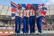Great Britain women's 4x400m relay team from the Beijing Olympic Games 2008 receive their bronze medal after the disqualification of Russia and Belarus during the 2018 Müller Anniversary Games at the London Stadium, London, England on 21 July 2018. Picture by Toyin Oshodi.