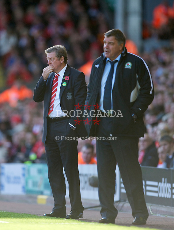LIVERPOOL, ENGLAND - Sunday, October 24, 2010: Liverpool's manager Roy Hodgson and Blackburn Rovers' manager Sam Allardyce during the Premiership match at Anfield. (Photo by David Rawcliffe/Propaganda)