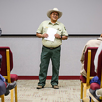 United State Forest Service ranger Alvin Whitehair addresses a crowd during a signing ceremony for Zuni Mountain Trails Project at El Malpais Visitors Center in Grants Wednesday.