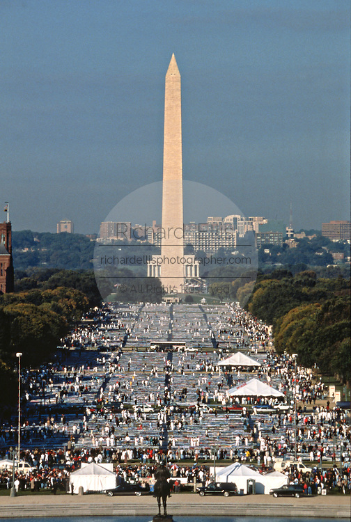 Aerial view of the entire AIDS Memorial Quilt is spread out along the National Mall October 12, 1996 in Washington, DC.