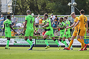 Forest Green Rovers Gavin Gunning(16) scores a goal 1-0 and celebrates during the EFL Sky Bet League 2 match between Forest Green Rovers and Cambridge United at the New Lawn, Forest Green, United Kingdom on 22 April 2019.