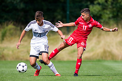 WREXHAM, WALES - Thursday, August 15, 2019: Cyprus' Marios Fasouliotis and Malta's Ensell Attard during the UEFA Under-15's Development Tournament match between Cyprus and Malta at Colliers Park. (Pic by Paul Greenwood/Propaganda)