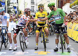 July 29, 2018 - Paris Champs-Elysees, France - PARIS CHAMPS-ELYSEES, FRANCE - JULY 29 : ALAPHILIPPE Julian (FRA) of Quick - Step Floors; THOMAS Geraint (GBR) of Team SKY, SAGAN Peter (SVK) of Bora - Hansgrohe during stage 21 of the 105th edition of the 2018 Tour de France cycling race, a stage of 116 kms between Houilles and Paris Champs-Elysees on July 29, 2018 in Paris Champs-Elysees, France, 29/07/18  (Credit Image: © Panoramic via ZUMA Press)
