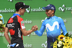 June 17, 2018 - Gommiswald, Suisse - BELLINZONA, SWITZERLAND - JUNE 17 : PORTE Richie (AUS)  of BMC Racing Team, QUINTANA Nairo (COL)  of Movistar Team during stage 9 of the Tour de Suisse cycling race, an individual time trial of 34 kms between Bellinzona and Bellinzona on June 17, 2018 in Bellinzona, Switzerland, 17/06/2018 (Credit Image: © Panoramic via ZUMA Press)