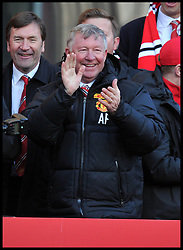 Sir Alex Ferguson meets the fans  in Albert Square, Manchester,  As Manchester United celebrate winning their 20th league title winning the Premier League, Monday May 13, 2013. Photo by: Andrew Parsons / i-Images