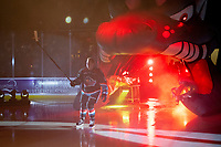 KELOWNA, CANADA - SEPTEMBER 22:  Cayde Augustine #5 of the Kelowna Rockets enters the ice against the Kamloops Blazers on September 22, 2018 at Prospera Place in Kelowna, British Columbia, Canada.  (Photo by Marissa Baecker/Shoot the Breeze)  *** Local Caption ***