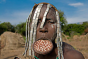 Musi women with plate in her lips, Mago National Park, Omovalley,Ethiopia,Africa
