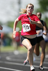 Hamilton, Ontario ---06/06/08--- Meghan Reynolds of Aurora in Aurora competes in the 4X100 meter relay at the 2008 OFSAA Track and Field meet in Hamilton, Ontario..SEAN BURGES