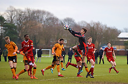 WOLVERHAMPTON, ENGLAND - Tuesday, December 19, 2017: Wolverhampton Wanderer's goalkeeper Jackson Smith during an Under-18 FA Premier League match between Wolverhampton Wanderers and Liverpool FC at the Sir Jack Hayward Training Ground. (Pic by David Rawcliffe/Propaganda)