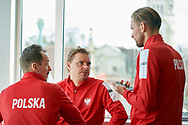 Sopot, Poland - 2018 April 06: (L-R) Radoslaw Szymanik - captain national team and Marcin Matkowski from Poland and Lukasz Kubot from Poland while Meet & Greet event one day before Poland v Zimbabwe Tie Group 2, Europe/Africa Second Round of Davis Cup by BNP Paribas at 100 years of Sopot Hall on April 06, 2018 in Sopot, Poland.<br /> <br /> Mandatory credit:<br /> Photo by © Adam Nurkiewicz / Mediasport<br /> <br /> Adam Nurkiewicz declares that he has no rights to the image of people at the photographs of his authorship.<br /> <br /> Picture also available in RAW (NEF) or TIFF format on special request.<br /> <br /> Any editorial, commercial or promotional use requires written permission from the author of image.