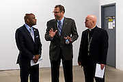 DENVER, CO - OCTOBER 17: From left, Denver Mayor Michael Hancock, Catholic Charities CEO Larry Smith  and Denver Archbishop Samuel Aquila await to announce the Samaritan House Shelter for Women on October 17, 2016, in Denver, Colorado. The homeless shelter for women will open in mid-2017. (Photo by Anya Semenoff/Catholic Charities)