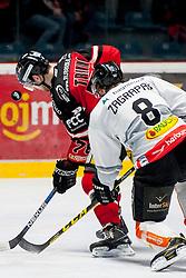 06.03.2016, Ice Rink, Znojmo, CZE, EBEL, HC Orli Znojmo vs Dornbirner Eishockey Club, Viertelfinale, 5. Spiel, im Bild v.l. Corey Trivino (HC Orli Znojmo)<br /> Marek Zagrapan (Dornbirner) // during the Erste Bank Icehockey League 5th quarterfinal match between HC Orli Znojmo and Dornbirner Eishockey Club at the Ice Rink in Znojmo, Czech Republic on 2016/03/06. EXPA Pictures &copy; 2016, PhotoCredit: EXPA/ Rostislav Pfeffer