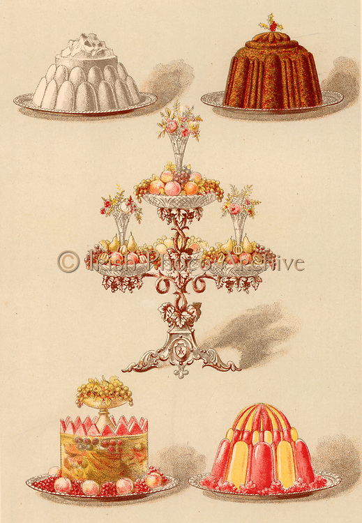 Moulded puddings for a dinner party.  Blancmange, Christmas pudding, Fruit jelly with fruit set in it, Jelly in two colours.  The centrepiece is an epergne holding mixed fresh fruit and decorated with flowers. Chromolithograph from 'Cassell's Book of the Household' (London, c1895).