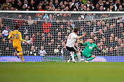 Fulham forward Chris Martin (25) celebrating after scoring 2-0 during the EFL Sky Bet Championship match between Fulham and Preston North End at Craven Cottage, London, England on 4 March 2017. Photo by Matthew Redman.