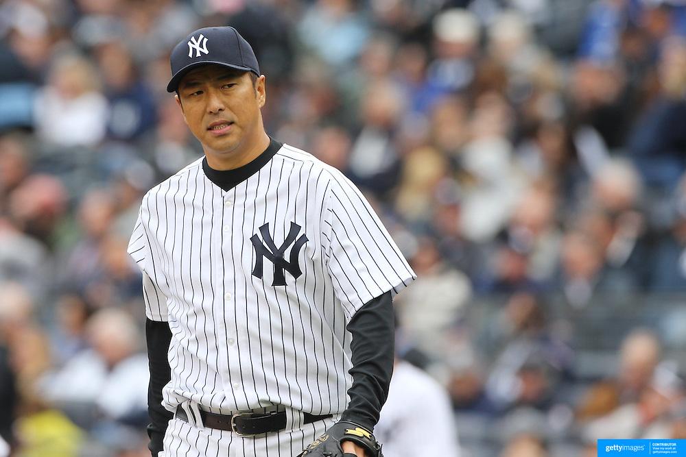 Hiroki Kuroda, New York Yankees, pitching during the New York Yankees V Baltimore Orioles home opening day at Yankee Stadium, The Bronx, New York. 7th April 2014. Photo Tim Clayton