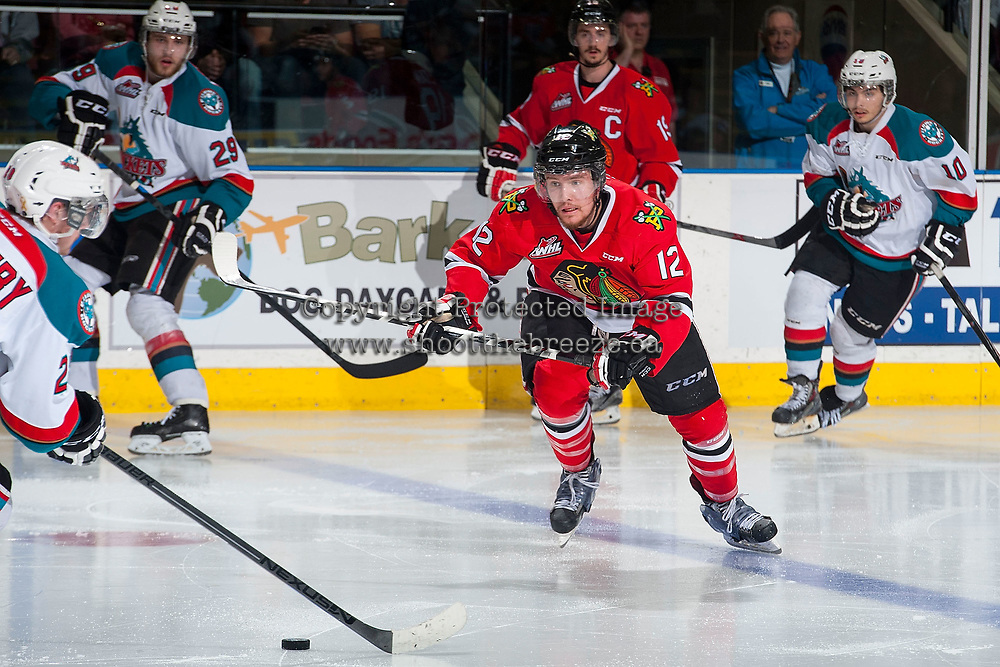 KELOWNA, CANADA - MAY 1: Miles Koules #12 of Portland Winterhawks skates against the Kelowna Rockets on May 1, 2015 at Prospera Place in Kelowna, British Columbia, Canada.  (Photo by Marissa Baecker/Getty Images)  *** Local Caption *** Miles Koules;