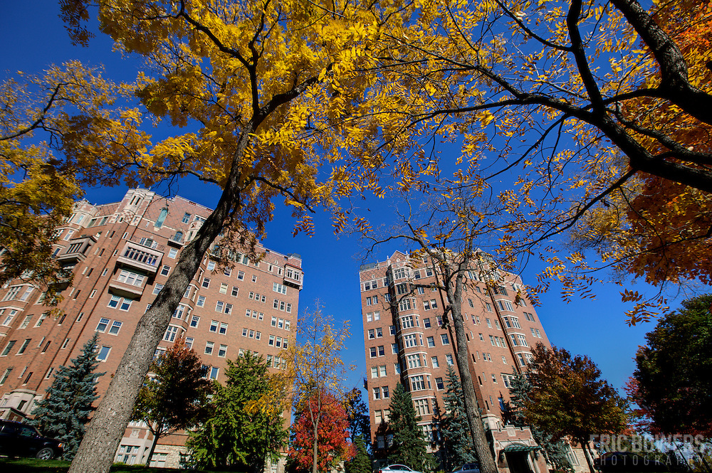 Fall foliage and leaves on the grounds of The Walnuts luxury condominiums near the Country Club Plaza, Kansas City, Missouri.