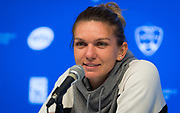 Simona Halep of Romania talks to the media after winning her quarter-final match at the 2018 Western and Southern Open WTA Premier 5 tennis tournament, Cincinnati, Ohio, USA, on August 17th 2018, Photo Rob Prange / SpainProSportsImages / DPPI / ProSportsImages / DPPI