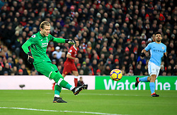 Liverpool goalkeeper Loris Karius during the Premier League match at Anfield, Liverpool.