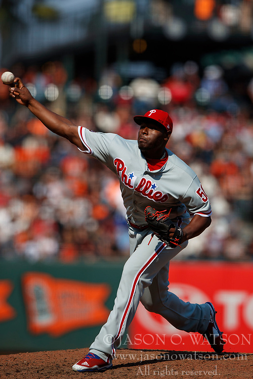 SAN FRANCISCO, CA - AUGUST 20: Hector Neris #50 of the Philadelphia Phillies pitches against the San Francisco Giants during the ninth inning at AT&T Park on August 20, 2017 in San Francisco, California. The Philadelphia Phillies defeated the San Francisco Giants 5-2. (Photo by Jason O. Watson/Getty Images) *** Local Caption *** Hector Neris