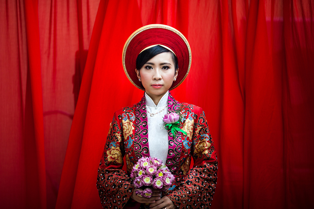 A portrait of a young Vietnamese bride on her wedding day in Ho Chi Minh City.