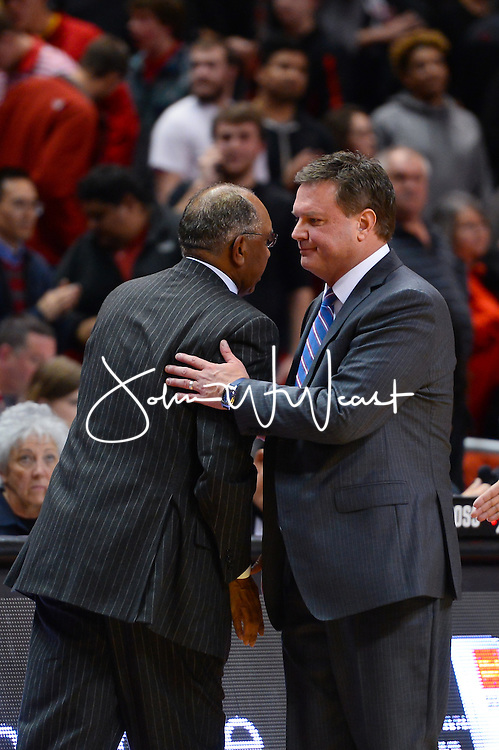 LUBBOCK, TX - JANUARY 09: Head coach Bill Self of the Kansas Jayhawks and head coach Tubby Smith of the Texas Tech Red Raiders shake hands after the game on January 09, 2016 at United Supermarkets Arena in Lubbock, Texas. (Photo by John Weast/Getty Images)  *** Local Caption *** Bill Self;Tubby Smith