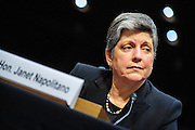 Homeland Security Secretary Janet Napolitano testifies before the Senate Judiciary Committee during a hearing about border security, economic opportunity, and the Immigration Modernization Act.