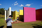 Brumadinho_MG, Brasil...Centro de Arte Contemporanea Inhotim (CACI). O Instituto Inhotim e a sede de um dos mais importantes acervos de arte contemporanea do Brasil e considerado o maior centro de arte ao ar livre da America Latina em Brumadinho, Minas Gerais. Na foto a obra de Helio Oiticica, Invencao da cor, Penetravel Magic Square # 5, De Luxe, 1997...Inhotim Contemporary Art Museum (CACI). The Institute Inhotim is one of the most important collections of contemporary art in Brazil and the largest outdoor center of art in Latin America Its is in Brumadinho, Minas Gerais.  In this photo the art of Helio Oiticica, Invencao da cor, Penetravel Magic Square # 5, De Luxe, 1997.....Foto: NIDIN SANCHES / NITRO