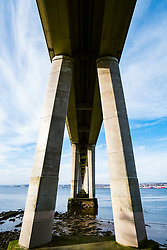 View of Tay Road bridge crossing the River Tay at Dundee in Scotland, United Kingdom
