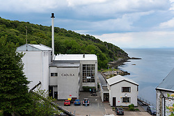 View of Caol Ila Distillery on island of Islay in Inner Hebrides of Scotland, UK