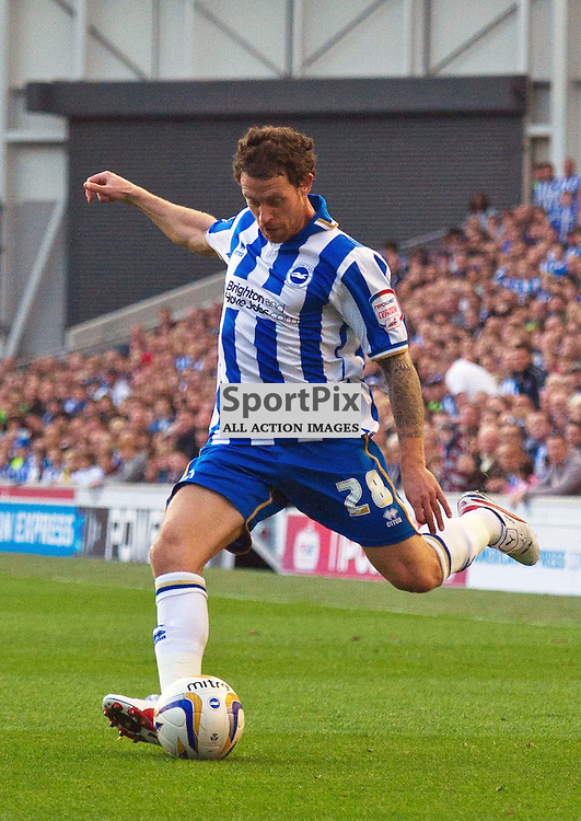BRIGHTON. UK. 29/09/2012. Brighton and Hove Albion's Wayne Bridge at the match between Brighton and  Hove Albion FC and Birmingham City FC held at the American Express Community Stadium Falmer. © Peter Webb | STOCKPIX.EU. Photo credit: Peter Webb | STOCKPIX.EU