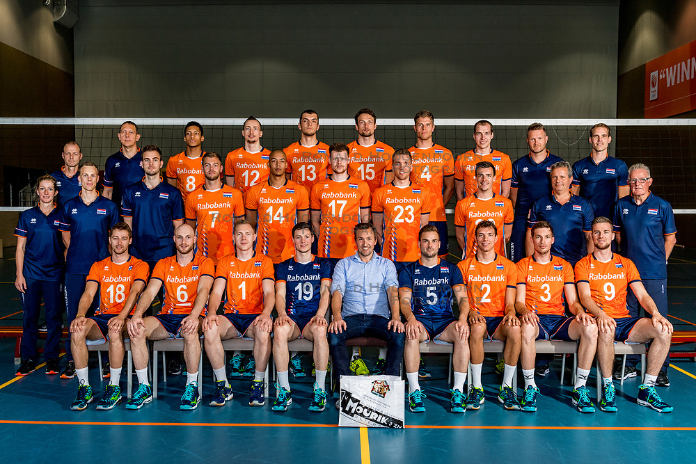 14-05-2018 NED: Team shoot Dutch volleyball team men, Arnhem<br /> Teamfoto met: <br /> Daan van Haarlem #1 of Netherlands<br /> Wessel Keemink #2 of Netherlands<br /> Dirk Sparidans #5 of Netherlands<br /> Thijs ter Horst #4 of Netherlands<br /> Jasper Diefenbach #6 of Netherlands<br /> Gijs Jorna #7 of Netherlands<br /> Fabian Plak #8 of Netherlands<br /> Tim Smit #12 of Netherlands<br /> Niels de Vries #13<br /> Nimir Abdelaziz #14 of Netherlands<br /> Thomas Koelewijn #15 of Netherlands<br /> Wouter ter Maat #16 of Netherlands<br /> Michaël Parkinson #17 of Netherlands<br /> Robbert Andringa #18 of Netherlands<br /> Just Dronkers #19 of Netherlands<br /> Stijn Held #20 of Netherlands<br /> Sjoerd Hoogendoorn #23 of Netherlands<br /> Coach Gido Vermeulen<br /> Assistent coach Claudio Gewehr<br /> Assistent coach Arne Hendriks<br /> Jeffrey van Mourik