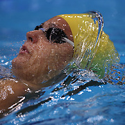 Therese Svendsen, Sweden,  in action in the Women's 100m backstroke heats during the swimming heats at the Aquatic Centre at Olympic Park, Stratford during the London 2012 Olympic games. London, UK. 29th July 2012. Photo Tim Clayton