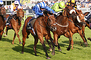 Jockey JIM CROWLEY rides a FOUR TIMER as he steers home ENJAZAAT (1) to win The Follow @williamhillracing On Twitter Handicap Stakes over 6f (£20,000)   during the third day of the St Leger Festival at Doncaster Racecourse, Doncaster, United Kingdom on 13 September 2019.