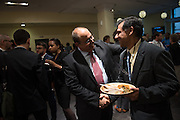 CCEM Co-Director Jehangir Khattak greets photographer Adi Talwar. Members of community and ethnic media publications and associations from around the New York area gather for the 14th annual Ippies Awards hosted by the Center for Community and Ethnic Media at the CUNY Graduate School of Journalism in New York City, NY, on June 2,2016. Photo by Skyler Reid
