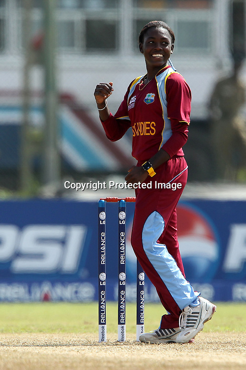 Shemaine Campbelle celebrates the wicket of Katey Martin during the ICC Women's World Twenty20 - between The West Indies and New Zealand held at the Galle International Stadium in Galle, Sri Lanka on the 26th September 2012<br /> <br /> Photo by Ron Gaunt/SPORTZPICS/PHOTOSPORT