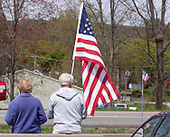 Stone Ridge, New York  - A couple waits  along Route 209 to honor U.S. Army Sgt. Shawn M. Farrell II on May 7, 2014. Farrell died April 28 when forces attacked his unit with small arms fire in Afghanistan.