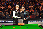 21.02.2016. Cardiff Arena, Cardiff, Wales. Bet Victor Welsh Open Snooker final.  Ronnie O'Sullivan versus Neil Robertson. Ronnie O'Sullivan and Neil Robertson with the trophy and shake hnds before they start to pot.