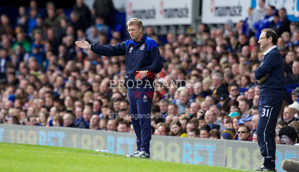 LIVERPOOL, ENGLAND - Saturday March 17, 2012: Everton's manager David Moyes during the FA Cup Quarter-Final match against Sunderland at Goodison Park. (Pic by Vegard Grott/Propaganda)