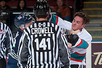 KELOWNA, CANADA - FEBRUARY 8: Josh Uhrich #22 of Seattle Thunderbirds drops the gloves with Riley Stadel #3 of the Kelowna Rockets on February 8, 2016 at Prospera Place in Kelowna, British Columbia, Canada.  (Photo by Marissa Baecker/Shoot the Breeze)  *** Local Caption *** Josh Uhrich; Riley Stadel;