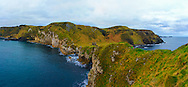 Panoramic view from Kinbane Head towards Kinbane Castle