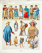 Ancient Mexican fashion and accessories from Geschichte des kostüms in chronologischer entwicklung (History of the costume in chronological development) by Racinet, A. (Auguste), 1825-1893. and Rosenberg, Adolf, 1850-1906, Volume 1 printed in Berlin in 1888