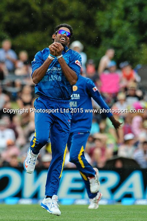 Sachithra Senanayake of Sri Lanka celebrates a wicket in the first ODI, Black Caps v Sri Lanka, at Hagley Oval, Christchurch, 11 January 2015. Photo:John Davidson/www.photosport.co.nz