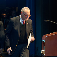 Hempstead, New York, USA. January 1, 2018. U.S. Senator CHUCK SCHUMER of New York approaches podium to speak during Swearing-In ceremony of Laura Gillen as Hempstead Town Supervisor, and Sylvia Cabana as Hempstead Town Clerk, at Hofstra University.